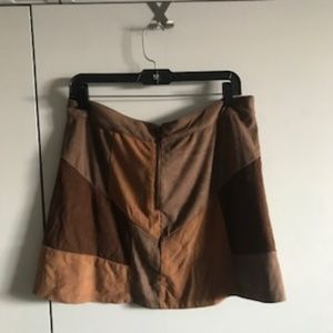Suede Patchwork Mini Skirt